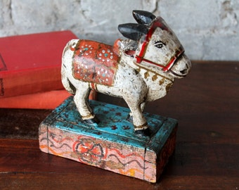 Painted Nandi Cow Toy Indian Vintage Carved Pull Toy Religious Sculpture Rajasthan Folk Art