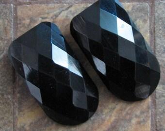 Vintage Black Faceted Shoe Clips Set of 2