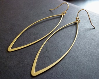 GOLD MARQUISE-Long Marquise Oval Shaped Earrings