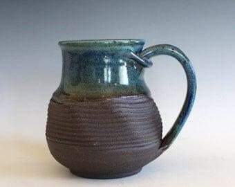 Twisted Mug, 18 oz, handthrown ceramic mug, stoneware pottery mug, unique coffee mug
