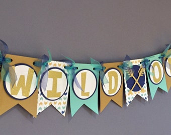 Tribal Banner|Boys Boho Banner|Arrow Feather Decorations|Aztec|Wild One|Blue Teal Gold Glitter