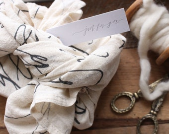 Calligraphy Fabric Gift Wrap (or Tea Towel)