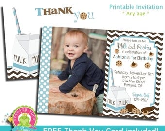 Milk and Cookies Invitation / Birthday Invitation / Kids Cookie Party / Milk and Cookies Party / Milk and Cookies Birthday / Cookie Party