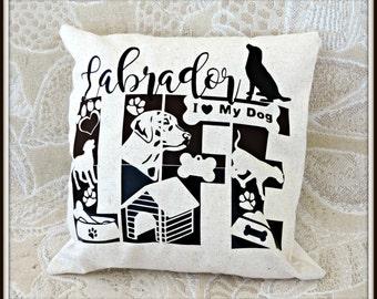 Labrador life throw pillow, dog lover pillow, your dog breed life throw pillow, pet lover throw pillow