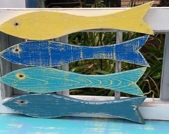 Fish Signs Wall Art School of 4 Beach House Coastal Tropical Decor by CastawaysHall - Ready to Ship