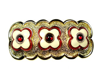 Belt buckles,  gold tone metal with enamel flowers and small glass cabochons