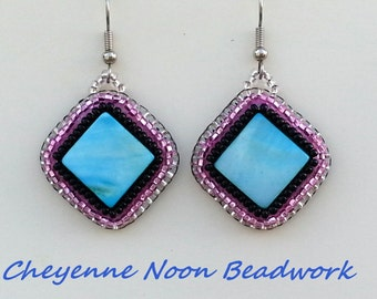 Native American Beaded Earrings - Blue Mother-of-Pearl Diamonds