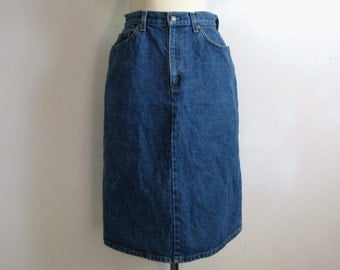 Vintage 1980s Skirt Levi Strauss Blue Cotton Denim Jean Long Skirt 30W Made in USA