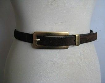 Danier 80s Belt Dark Cocoa Truffle Suede Leather Belt Small Ceinture en Daim Petit