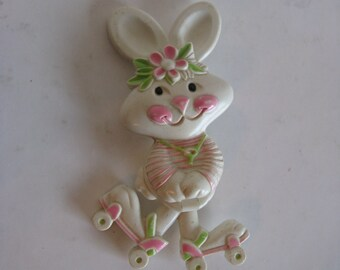 Vintage 1970s Perfume Brooch Pink White Bunny on Roller Skates Rabbit Perfume Pin