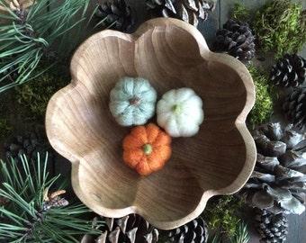 Felted wool pumpkins, set of 3, Pumpkin Orange, Light Green Heather, and Natural White, Halloween decoration, felt waldorf harvest pumpkins