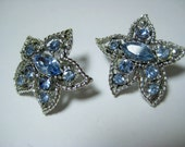 "Vintage Blue Rhinestone Star Flower Earrings; Faceted Crystal Rhinestone, Silvertone Metal, Clip On, Cocktail Jewelry, 1"" Size, 1 Pair"