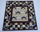 Quilted Table Topper, Quilted Table Runner, Asian Fabrics, Black and Gold, Cats and Kitties