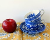 Vintage Blue Willow Tea Cup and Saucer Set. Blue and White China. Japanese Tea Cups. Oriental Decor. Asian Decor. Japanese Blue Willow.