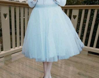 Sky blue tulle skirt. Tulle skirt women. Tea length tulle skirt.