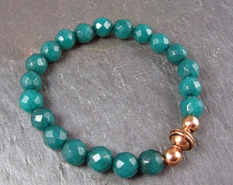 Emerald and Copper Stretch Bracelet