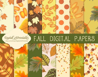 Autumn Digital paper Autumn Fall digital paper fall Printable commercial use digital paper Autumn leaves pattern paper Leaf decor