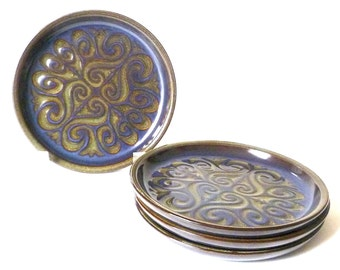 Vintage Mod Stoneware Set of Dessert Plates ... 4 Salad Plates, Navy and Green Pottery, Boho, Japanese Ceramics, Swirly Pattern, Mint