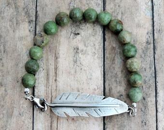 Silver Feather Bracelet, Sage Green Bracelet, Beaded Bracelet, Tribal Jewelry