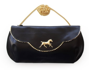 Free shipping Horse evening bag, black leather purse, crosbody horse purse, women's clutch wallet