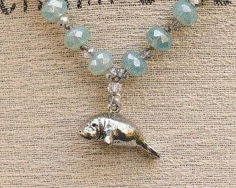 Manatee Jewelry Silver and Turquoise Manatee Necklace
