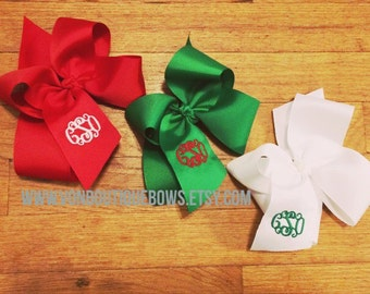 Red Green White Christmas Holiday Monogram Personalized Large Boutique Hairbow Bow Set of 3 FREE SHIPPING Santa ready stocking