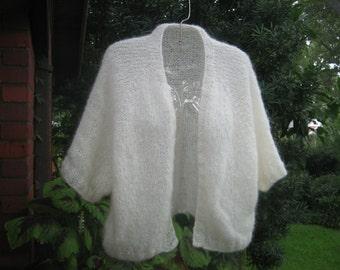 Cropped Cardigan Hand Knit in Angora Type Yarn