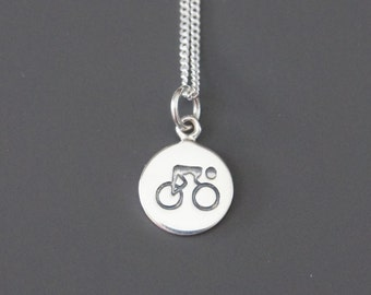 Bike Necklace, Sterling Silver, Mother Gift, Daughter Gift, Birthday Gift, Health Fitness