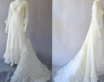 Vintage  1970s Lace and Chiffon Wedding Gown - 70s Ivory Bridal Dress M