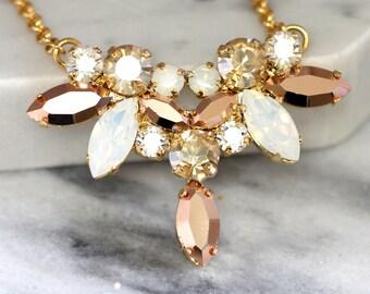 Bridal Rose Gold Necklace, Bridal Swarovski Crystal Necklace, Bridal Rose Gold Necklace,White Opal Rose Gold Bridal Necklace, Bridal Jewelry
