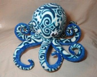 Lorenzo the Blue and White Fleece Plush Octopus Ocean Marine Stuffed Animal