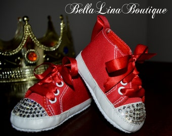 Swarovski Crystal Blinged Red High Top Soft Sole Infant Crib Shoes - Size 3-6 mos - READY TO SHIP! - Ask About Our Other Colors!