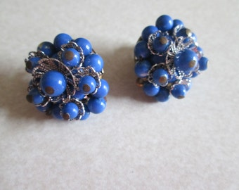 lapis BLUE round BEADS cottage stye silver tone filigree clip on earrings