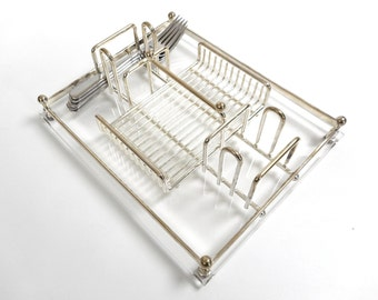 Vintage Silverware Flatware Caddy by Oneida Silverplated on Acrylic Base