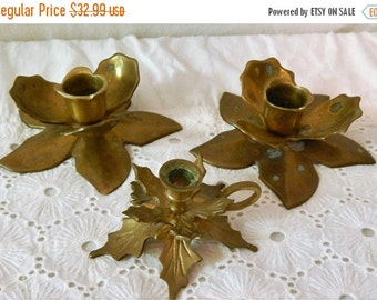 LABOR DAY SALE Vintage Solid Brass~Short Floral Candlestick Holders~Made in India