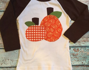 Pumpkin Applique Shirt - Personalized Shirt with Two Pumpkin Appliques -  You Choose Shirt Color and Sleeve Length