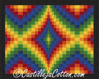 Bargello Quilt ePattern, 4716-5, rainbow wall quilt pattern, pieced rainbow wall quilt pattern