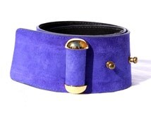 Royal Blue Suede Belt with Gold Hardware - Vintage Doncaster, 1990s - Size Small - Chunky Belt - Excellent Condition