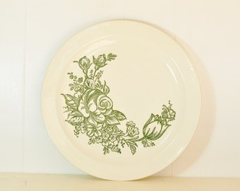 Vintage Round Stoneware Platter Knowles Serving Platter Plate Tray w/ Green Roses