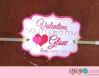 Valentine, You Make My Heart Glow,  PRINTABLE Kids Valentine's WITH NAME added