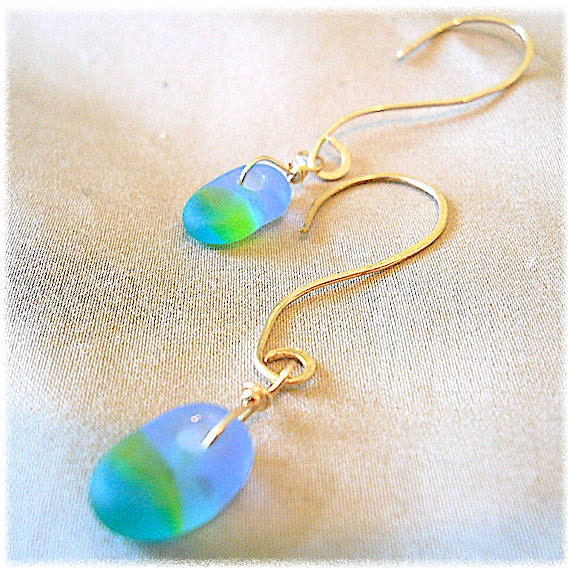 Summer Jewelry: BEACH GLASS, Recycled SEA Glass Beachy Earrings ~ Gold Filled, Sterling, Oxidized, YourDailyJewels, Jewellery