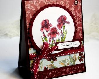 "Thank You Card - Handmade Card - Greeting Card - 4.25 x 5.5""Thank You  Flourishes Flowers Burgundy Gratitude 3D Card - OOAK"