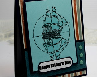 "Father's Day Card - Handmade Greeting Card - 3D Card - 4.25 x 5.5"" Happy Father's Day Ship Masculine Sailing Ocean OOAK"
