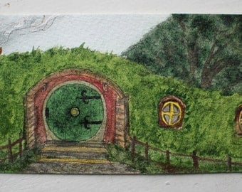 Bag End- Lord of the Rings Original Handillustrated Small Hobbit Bookmark Gift