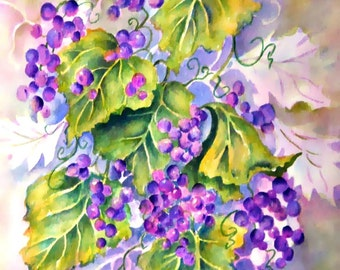 Grapes Watercolor, Grape Leaves, Purple Grapes, Wine Art. Grape Decor, Grape Vine, Art With Heart