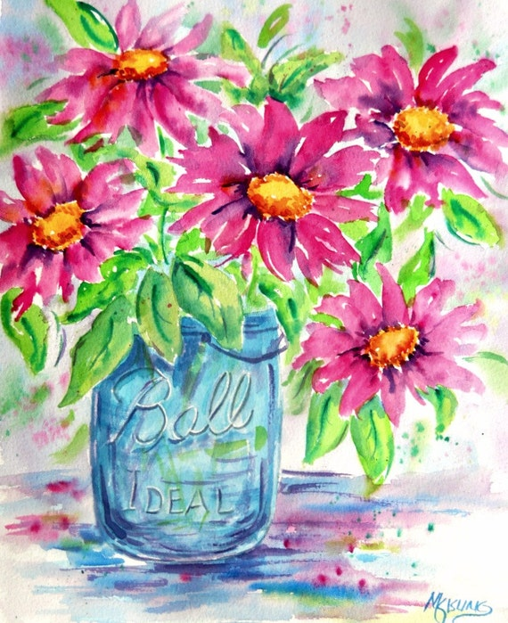 Blue Ball Jar Watercolor Pink Flowers Bouquet By