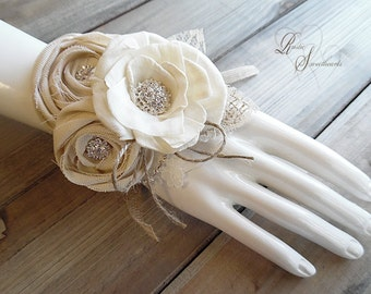 Ready to Ship ~~~ Corsage, Rustic Wrist Corsage, Sola Flower, Cotton Rose, Rhinestones, Burlap, Lace, Jute.