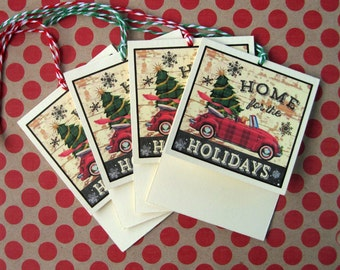 Vintage Christmas Holiday Gift Tags Home for the Holidays with Volkswagon Beetle
