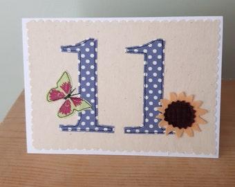 age 11 birthday card, 11th anniversary card, number 11, 11th Birthday
