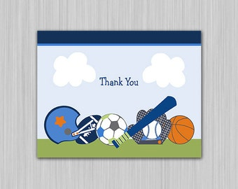 Lil/Little Sports Player/Baseball/Football/Soccer/Basketball/Boy Baby Shower Thank You Card folded U Print yourself